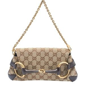 Gucci 114923 Horsebit GG Canvas Pochette (144433)